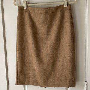 J.Crew No 2 Pencil Skirt Double Serge Wool Camel 4